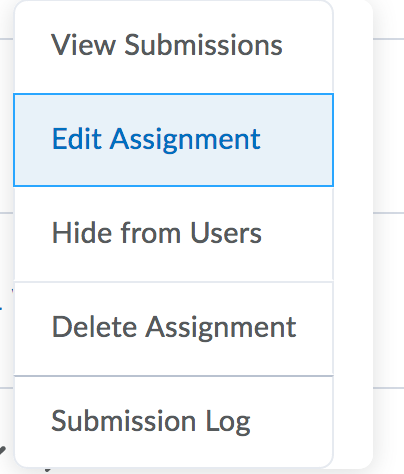 Edit Assignment Dropdown