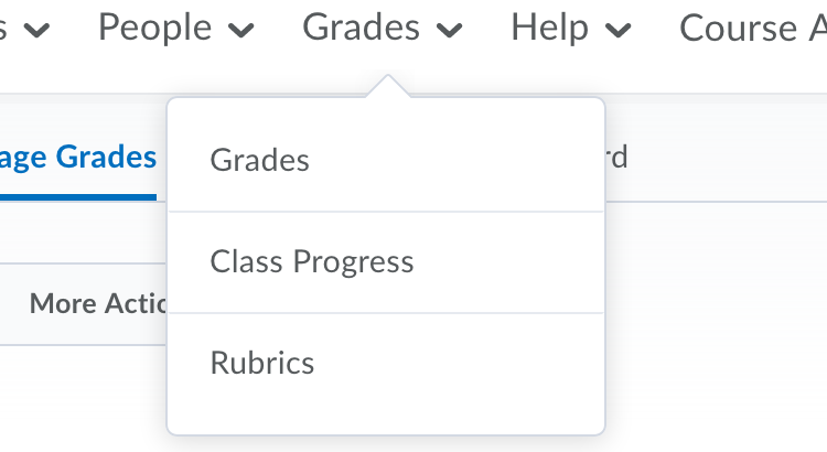 D2L Grades menu
