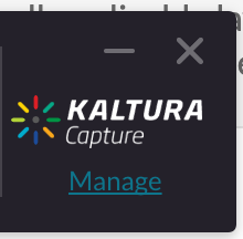 Kaltura Capture Manage link