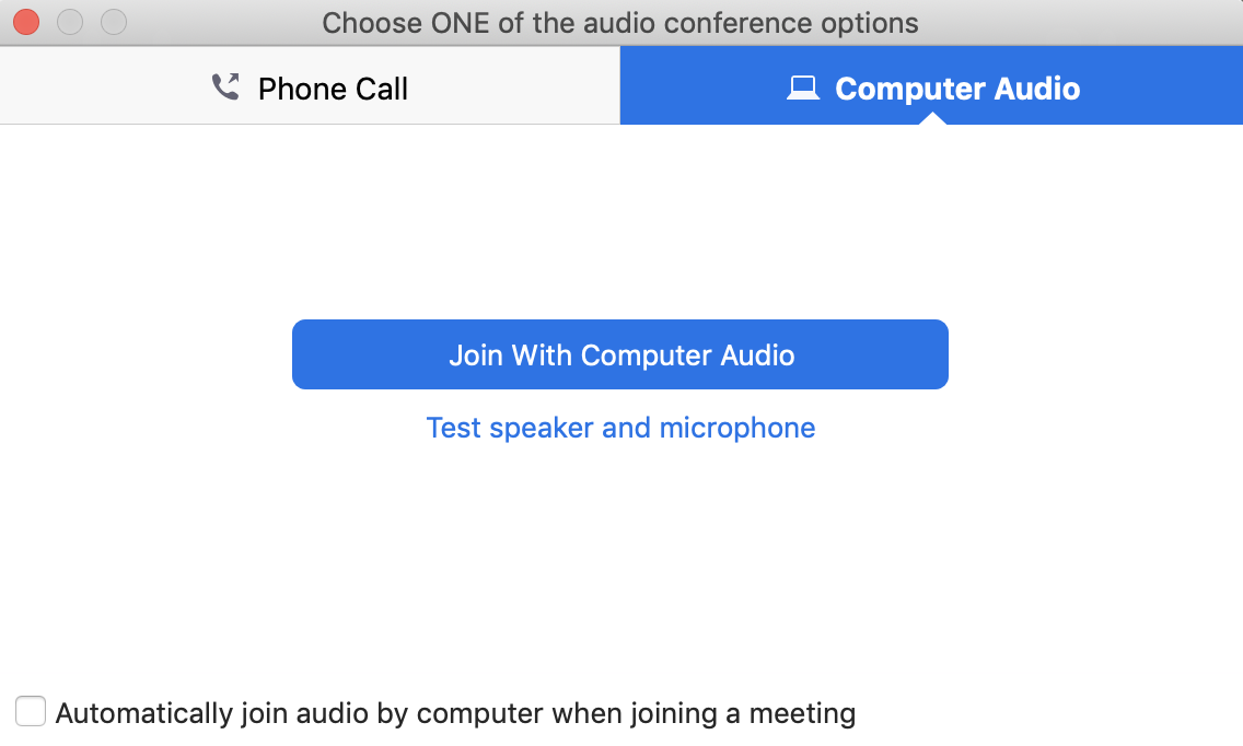 Computer Audio options, Join with computer audio button, test speaker and microphone link, checkbox to automatically join audio by computer when joining a meeting.