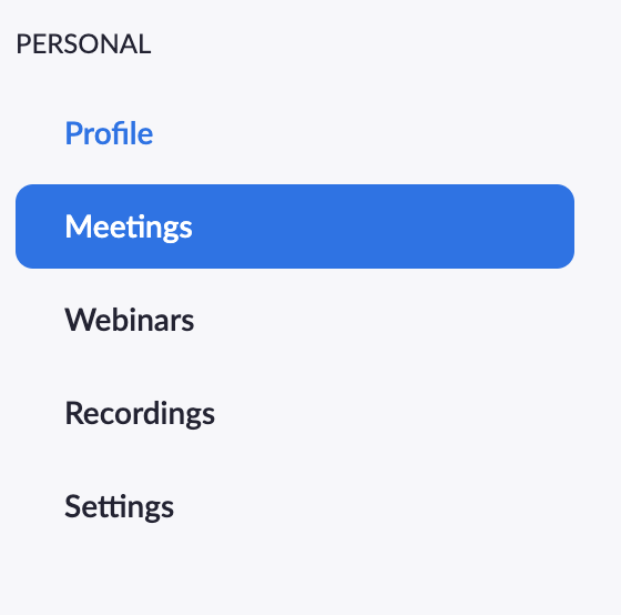 Zoom Personal Meeting navigational menu, Profile, Meetings (highlighted), Webinars, Recordings, Settings.