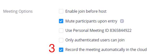 Record meeting check box